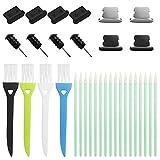 DanziX Kit de Limpieza de Tapones Antipolvo para teléfono Celular de 31 Piezas, Quitar hisopos Cepillos Tapones para teléfonos móviles compatibles con iPhone y USB C