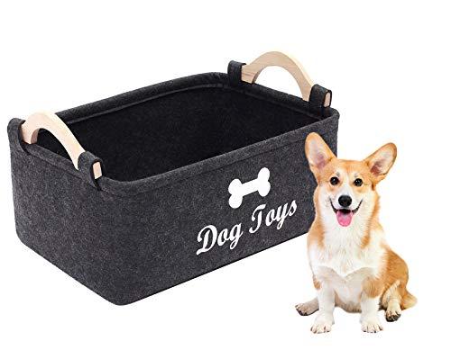 Geyecete - Cestas de Almacenamiento para Juguetes de Perro con Mango de Madera, Cesta de Almacenamiento para Suministros de Mascotas/Cubo para Juguetes, baúl de Almacenamiento para niños