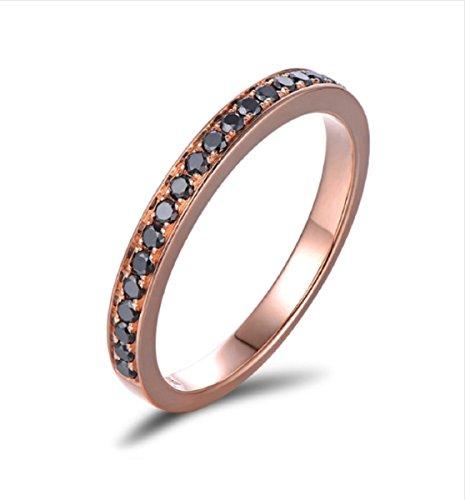 Gowe Verlobungsring/Ehering aus 14 Karat Rotgold mit schwarzen Diamanten