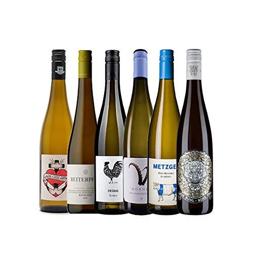 KERNenergie Weinpaket PFÄLZER WEINE (6 x 0,75l) – Trockene Weißweine im Vorteilsset – Verschiedene Rebsorten aus der Pfalz
