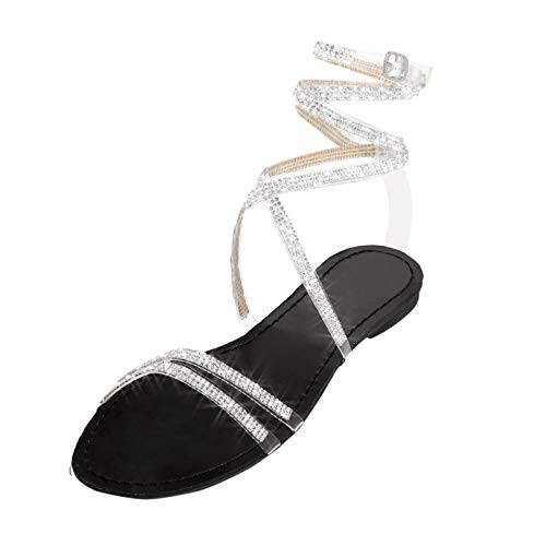 URIBAKY - Sandalias de mujer, estilo casual, planas, estilo retro, Negro (Negro ), 37 EU