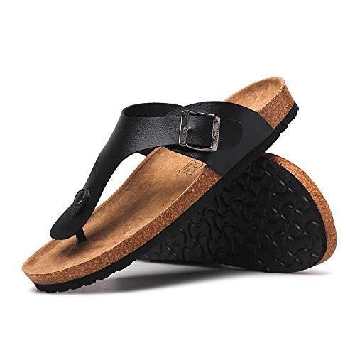 MedusaABCZeus Zapatos de Playa y Piscina,Chanclas de Corcho Zapatos de Playa Antideslizantes con Clip de Verano-Negro_37,Sandalias Natural