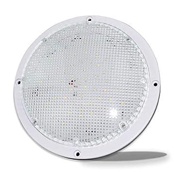 """RV Trailer Camper 1000 Lumen 5th Wheel White 8.5"""" Round Scare Porch 12V LED Light (LED Light 1000 Lumen)"""