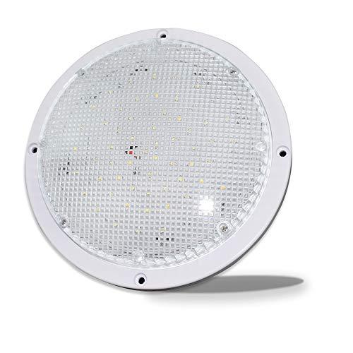 """RV Trailer Camper 5th Wheel White 8.5"""" Round Scare Porch 12V LED Light 600 LM Light Only (LED Light)"""
