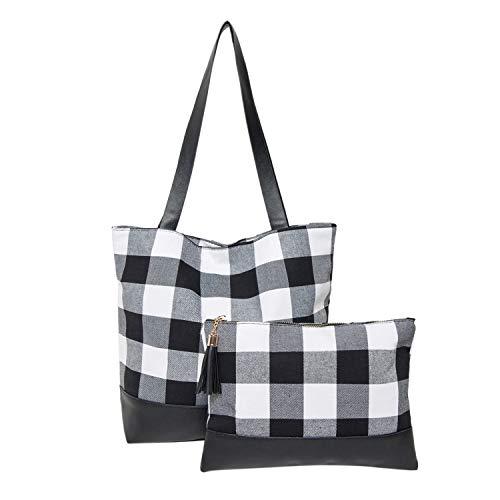 Buffalo Plaid Tote Bag Clutch für Damen mit weißem Büffel-Make-up-Kosmetiktasche Claus Tote Set