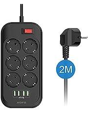 AOFO Stekkerdoos stekkeradapter 6-voudig schakelbaar met 4 USB (5 V/3,4 A, 17 W), schakelbare meervoudige stekkerdoos kinderbeveiliging. Adapterstekker met spanningsbeveiliging 2 m kabel