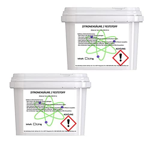 Cleanerist 2 x 2,5 kg, ácido cítrico, calidad alimentaria E330, vegano, para descalcificar y limpiar
