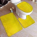 Ahuimin - Juego de 3 alfombras de baño (3 piezas, diseño vintage desgastado sucio industrial de pared y tachuelas con tema de productividad, alfombra de baño de terciopelo suave
