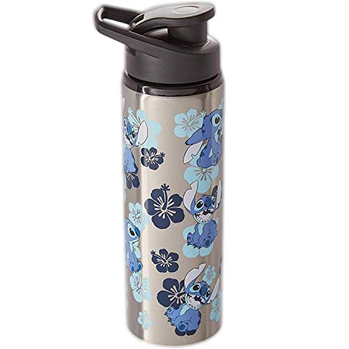 Silver Buffalo Disney s Lilo and Stitch Stainless Water Bottle, Blue