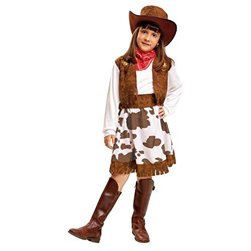 My Other Me Me-200829 Disfraz de vaquera para niña, color blanco y marrón, 3-4 años (Viving Costumes 200829)