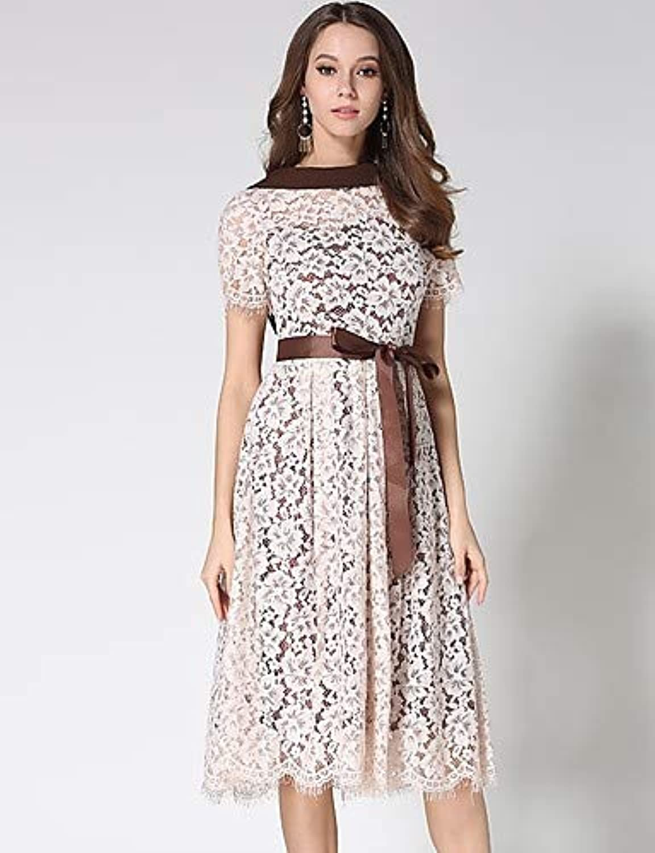 Women's Vintage A Line Dress  Floral Geometric Lace Cut Out Bow