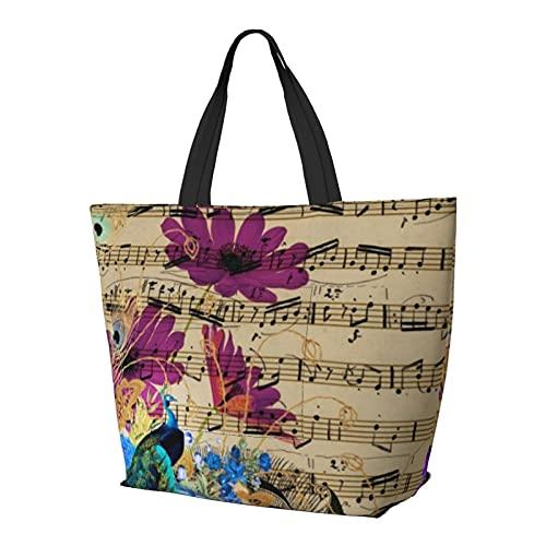 Elegante verde acqua pavone viola spartito floreale borsa a tracolla multifunzionale grande capacità borsa tablet borse leggero lavoro tote bag weekender viaggio borsa spiaggia sacco per le donne