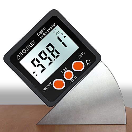 AUTOUTLET Inclinómetro Digital Protractor 4 * 90 ° Nivel Buscador de ángulos de Caja Retroiluminación Indicador de nivel Indicador de bisel con base magnética IN / FT, mm / m