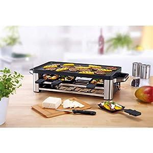 WMF Lono Raclette Grill mit Pfännchen und Schiebern, Raclette 8 Personen, 1500 W, edelstahl matt