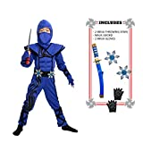 Spooktacular Creations Striking Blue Ninja Costume for Child Stealth Costume Halloween Kids Kung Fu Outfit (Small ( 5 – 7 yrs))