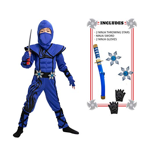 Striking Blue Ninja Costume for Child Stealth Costume Halloween Kids Kung Fu Outfit (Small (5-7 yr))