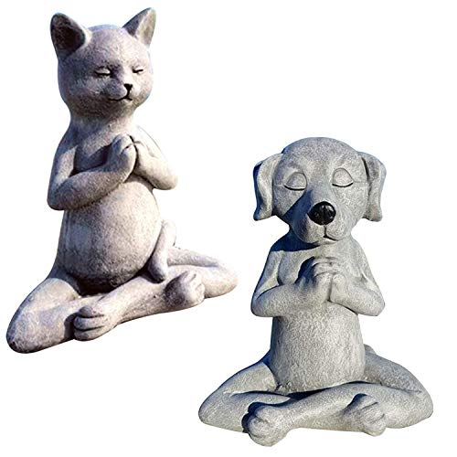 Cat Dog Buddha Statue, Meditating Cat Dog Statue, Yoga Cat Dog Garden Decor, Spring Decorations for Table Centerpiece, Buddha Statue for Zen Vibe, Flower Bed, Yoga Space, Outdoors (Cat+Dog)