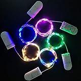 LEDMOMO 5pcs Alimentato a Batteria 10 LED Fairy String Light 1M Filo di Rame Argento Mini Lampada per San Valentino Natale Festa di Nozze (4 Colori, batterie a Bottone batterie Incluse)