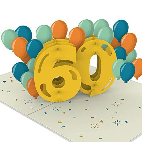 PaperCrush® Pop-Up Karte 60. Geburtstag [NEU!] - Besondere Geburtstagskarte für Frauen und Männer (60 Jahre), Glückwunsch zum 60ten Geburtstag - Handgemachte Glückwunschkarte inkl. Umschlag