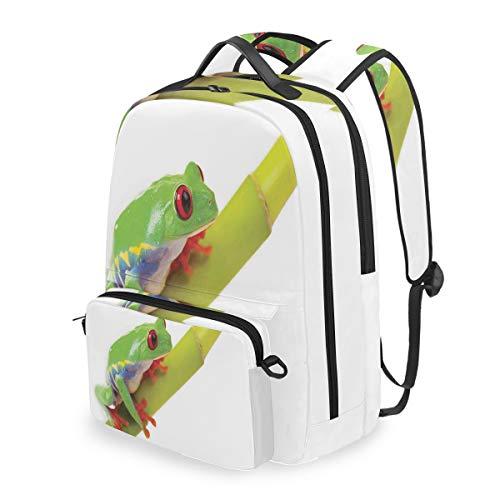 DUILLY Netter Kleiner Baum-Frosch, der auf der Niederlassungs-Ureinwohner-amerikanischen Wildnis sitzt Abnehmbare Rucksack Schule Computer Tasche zu fuß tragbare Camping Rucksack für Junge mädchen