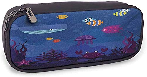 Weiche Bleistift Tasche Cartoon schönes Muster Unterwasserwelt Fisch im Aquarium und Wal Krabben Quallen Blasen Koralle, 3,5 x 8 x 1,5 Zoll