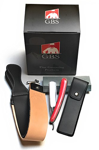 """GBS Beginner Straight Razor Gift Set- Folding 5/8"""" Shave Ready Multi Wood Inlay Scales Carbon Steel Blade w/Case, Sharpening Stone + 20"""" Leather Strop Holiday Boss Father"""