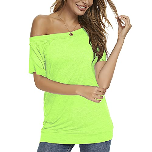 Off the Shoulder Slouchy Sloose Neck Sweatshirt Wide Neck Sweatshirts Fancy Crop Tops Lightweight Tunic Shirts Dresses for Women Short Sleeve Plus Size Fluorescent Green XXL