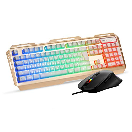Gold Gaming Keyboard Mouse Combo Rainbow Backlit,LED Keyboard 5600DPI Gaming Mouse,Color Change Computer PC Keyboard,White Keycaps Metal Panel for Prime Xbox One PS4 Gamer