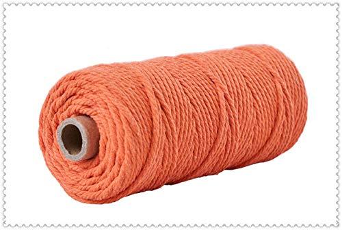 LINL 100% Baumwollschnur Bunte-Schnur-Seil Beige Verdreht Craft Makramee Schnur DIY Home Textile Hochzeit Dekorative Versorgung 3mmx110yards,Orange