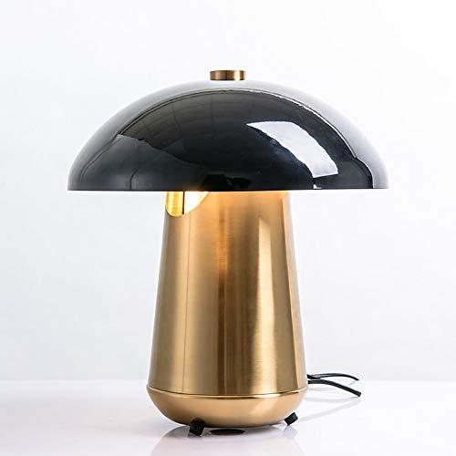 Lqdpdd Amerikanischen Stil Metall Tischlampe, Schwarz Pilzform Lampenschirm Nachttischlampe Metall Lampenkörper Wohnzimmer Studie Dekorative Leselicht-17 Zoll Hoch