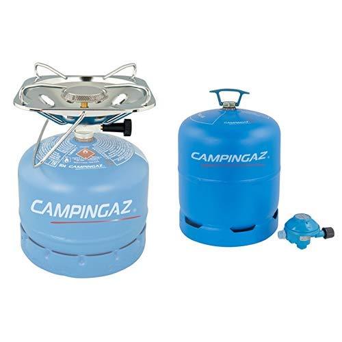Campingaz R907 leere Butan Gasflasche, 2.75 Kg Fassungsvermögen, inkl. 50 mBar Druckregler, geeignet für alle zweiflammigen Campingkocher + Campingaz Kocher Super Carena R für Gasflaschen