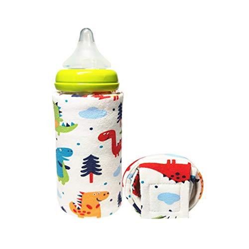 Cartoon Druck Reise Auto Baby Flaschenwärmer, Babyflasche Isolierung Abdeckung Konstante Temperatur Heizung USB Tragbare Tasche Dicke Warme Universal Bottom Wrapped Cap-Forest dinosa