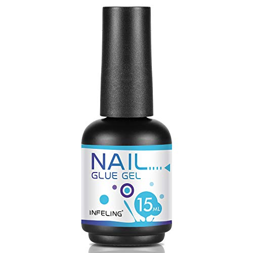 Nail Glue for Acrylic Nails - 4 in 1 Gel Glue for Nails (Curing Needed), INFELING Multifunctional Gel Nail Glue for Press on Nails 15ML,Glue Gel for Nails,Base Coat,Slip Solution