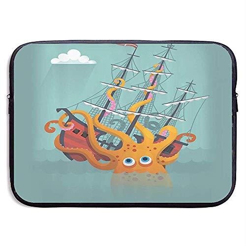 Zakelijke Aktetas Hoes, Laptop Sleeve Hoes, Waterdichte Computer Tas, Kraken Giant Squid Zinkende Piraat Boot Oceaan Tablet Case Hoes, Compatibele Notebook Bag Case, Laptop Sleeve Bag