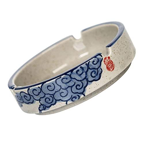 Cendrier en céramique Cendrier à tabac rétro Cendrier en poterie chinoise Cendrier de style japonais pour la table de bureau à domicile Cendrier à cigarettes bleu