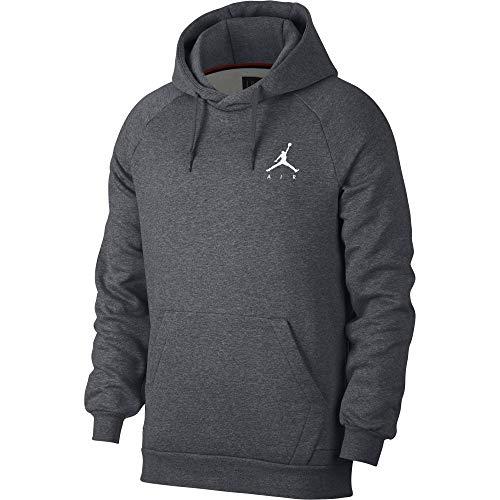 Nike Herren Jumpman Fleece Po Jacke, Carbon Heather/Bianco, M