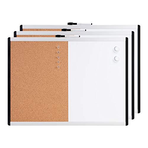 AmazonBasics - Pizarra magnética de borrado en seco y tablón de corcho 2 en 1, bastidor de aluminio y plástico, 43,2 x 58,4 cm, 3 unidades