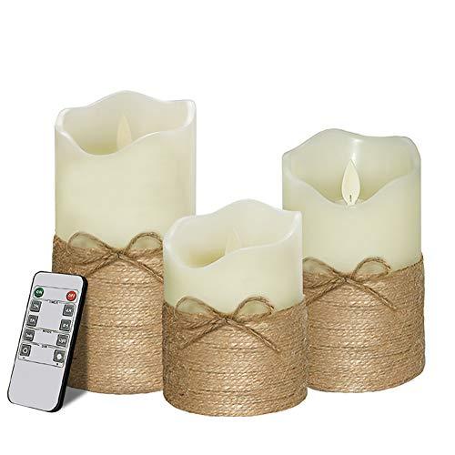 GIFZES 3Pcs Tea Lights,LED Tealight Candles, Electronic Remote Control Hemp Rope LED Candle Light Lamp Battery Powered for Seasonal and Festival Celebration