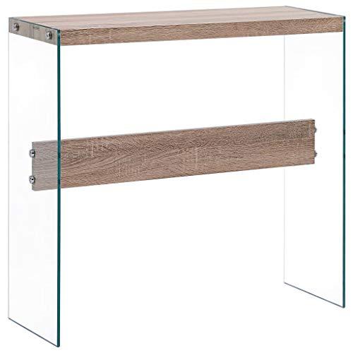 UnfadeMemory Mesa Consola Recibidor de Entrada de Cristal,Mesa Alta Cocina,Mesa de Entrada,Mueble Auxiliar,Superficie de MDF,82x29x75,5cm (Roble)