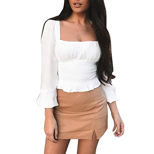 Limtery Women's Elegant Retro Long Puff Sleeve Blouse T-Shirt Crop Top (Medium, White)
