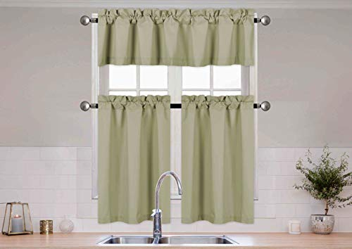Better Home Style 3 Piece Solid Color 100% Blackout Kitchen Window Curtain Set with Tiers and Valance Solid Energy Efficient Thermal Room Darkening Drape Window Treatment # MKC (Sage Green)