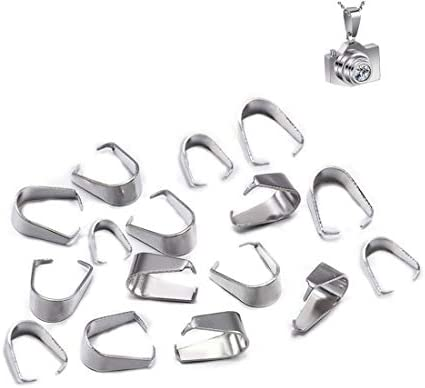 GBSTORE 100 Piece Stainless Steel Hook Pendant Clasps Pinch Clips Bail Pendants Connectors for product image
