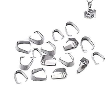 GBSTORE 100 Piece Stainless Steel Hook Pendant Clasps Pinch Clips Bail Pendants Connectors for Jewelry Findings Making Accessories,Pinch Clip Clasp Bail for Necklace,5 x 10 mm