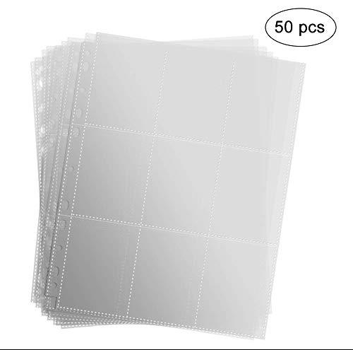 Erlliyeu 450 Pockets Sammelkarten 50 Seiten Pro 9-Pocket Leere Transparent Sammelmapp,Album Ordnerseiten für Trading Cards (450POCKETS)
