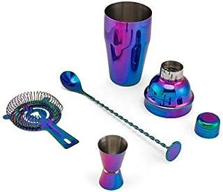 BarCraft Iridescent Cocktail Shaker Set, 4-Piece Bar Set, Stainless Steel,18.5oz Shaker, Hawthorne Strainer, Double Sided ...
