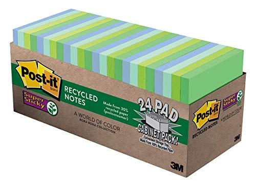 Post-it Notas recicladas super adesivas, 7,6 x 7,6 cm, 24 blocos, 2 x o poder de colar, coleção Bora Bora, cores frias (verde, azul claro, azul, menta, verde), 30% de papel reciclado (654-24SST-CP)