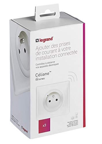 Lot de 3 prises de courant connectées Céliane with Netatmo avec plaque Blanc Yesterday