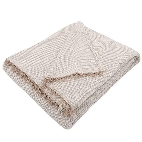 MERCURY TEXTIL- Colcha Multiusos Sofa,Manta Foulard,Plaid para Cama,Cubresofa Cubrecama,jarapas,Comoda Practica y Suave. Poliester Algodón (230 x 260cm, Espiga BEIG Camel)