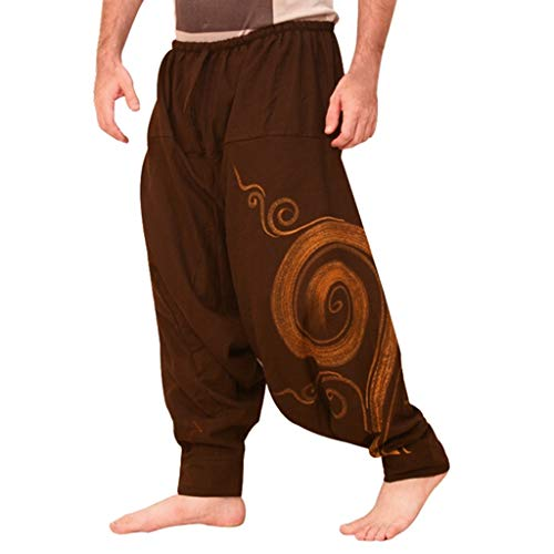 VPASS Pantalones Hombre,Pantalones Sueltos Tallas Grandes Moda Pop Casuales Estilo Nacional Yoga...