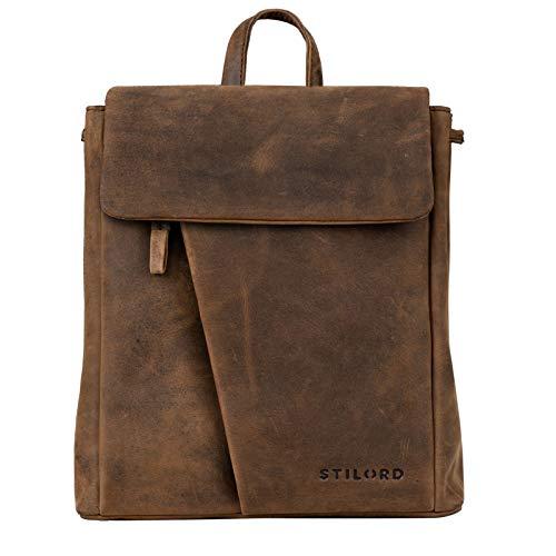 STILORD 'Anita' Lederrucksack Damen Klein Vintage City Rucksack Daypack für iPad 9.7 Zoll Rucksackhandtasche Shopping Freizeit aus Echtem Leder, Farbe:Sepia - braun